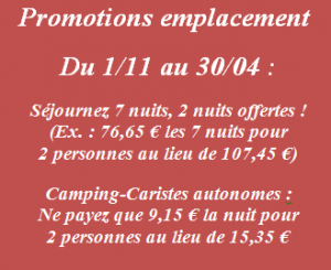 Tarifs et Promotions camping le colomer